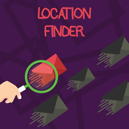 Writing note showing Location Finder. Business concept for A service featured to find the address of a selected place Magnifying Glass on Color Envelope and others has Same Shade