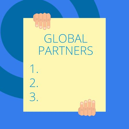 Writing note showing Global Partners. Business concept for Two or more firms from different countries work as a team Two hands holding big blank rectangle up down Geometrical background