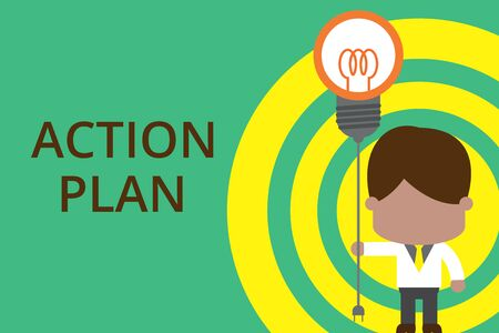 Conceptual hand writing showing Action Plan. Concept meaning proposed strategy or course of actions for certain time Standing man tie holding plug socket light bulb Idea Startup Фото со стока