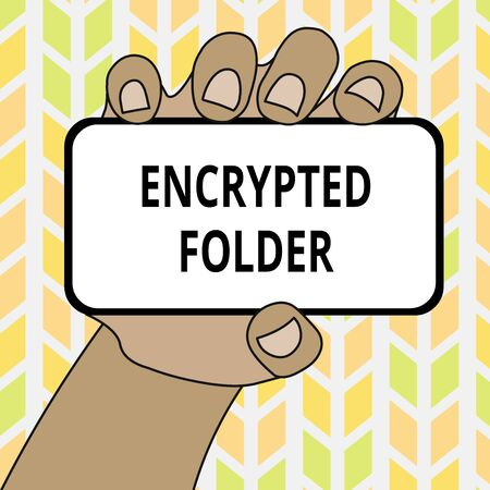 Conceptual hand writing showing Encrypted Folder. Concept meaning protect confidential data from attackers with access Closeup of Smartphone in Hand with Screen and Text Space