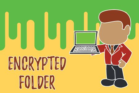 Conceptual hand writing showing Encrypted Folder. Concept meaning protect confidential data from attackers with access Standing businessman holding open laptop right hand side Imagens