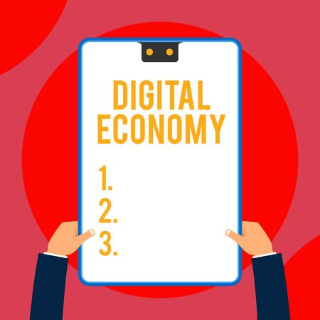 Text sign showing Digital Economy. Business photo text worldwide network of economic activities and technologies Two executive male hands holding electronic device geometrical background
