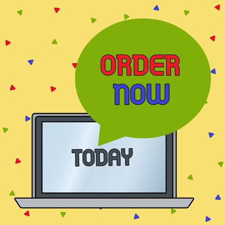 Handwriting text writing Order Now. Conceptual photo the activity of asking for goods or services from a company Round Shape Empty Speech Bubble Floating Over Open Laptop Colored Backdrop