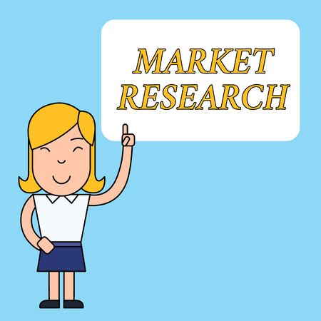 Writing note showing Market Research. Business concept for The acttion of gathering information about consumers Woman Standing with Raised Left Index Finger Pointing at Blank Text Box