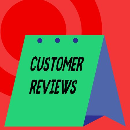 Word writing text Customer Reviews. Business photo showcasing review of product or service made by client who has used Open big standing calendar Desk monthly planner Geometrical background
