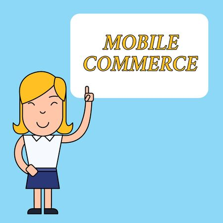 Writing note showing Mobile Commerce. Business concept for Using mobile phone to conduct commercial transactions online Woman Standing with Raised Left Index Finger Pointing at Blank Text Box