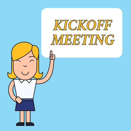 Writing note showing Kickoff Meeting. Business concept for Special discussion on the legalities involved in the project Woman Standing with Raised Left Index Finger Pointing at Blank Text Box