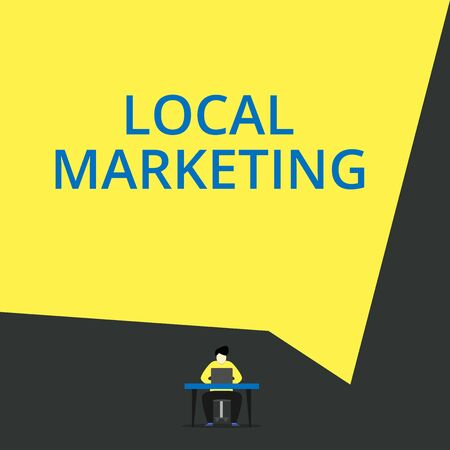 Handwriting text Local Marketing. Conceptual photo A local business where a product buy and sell in area base View young man sitting chair desk working open laptop geometric background 版權商用圖片