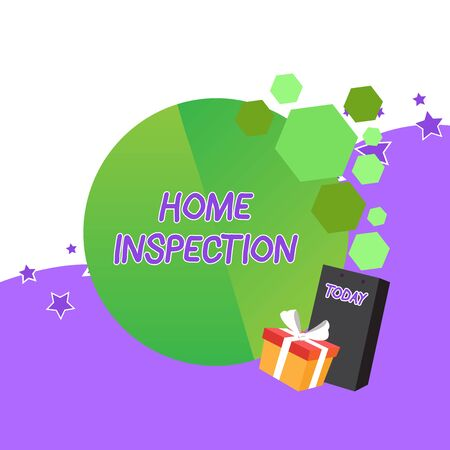 Handwriting text Home Inspection. Conceptual photo Examination of the condition of a home related property Greeting Card Poster Gift Package Presentation Box Decorated by Bowknot