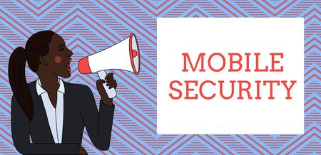 Word writing text Mobile Security. Business photo showcasing Protection of mobile phone from threats and vulnerabilities Young Woman Jacket Ponytail Shouting into Loudhailer Rectangular Text Box