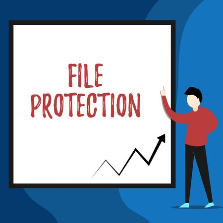Word writing text File Protection. Business photo showcasing Preventing accidental erasing of data using storage medium View young man standing pointing up blank rectangle Geometric background