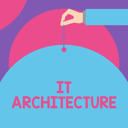 Handwriting text It Architecture. Conceptual photo Architecture is applied to the process of overall structure Male hand arm needle punching big half blank balloon geometrical background