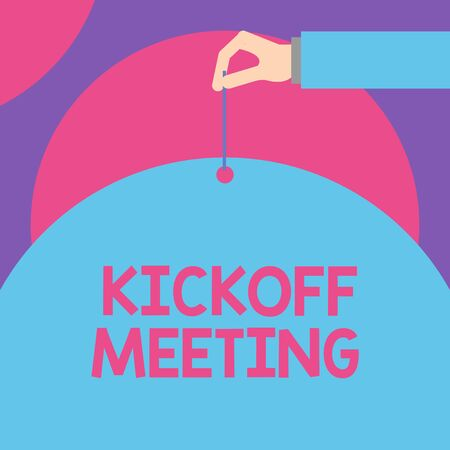 Handwriting text Kickoff Meeting. Conceptual photo Special discussion on the legalities involved in the project Male hand arm needle punching big half blank balloon geometrical background