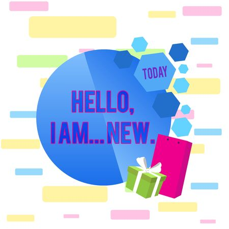 Writing note showing Hello I Am New. Business concept for introducing oneself in a group as fresh worker or student Greeting Card Poster Gift Package Presentation Box Decorated by Bowknot