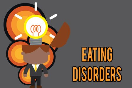 Conceptual hand writing showing Eating Disorders. Concept meaning any of a range of psychological abnormal food habits Standing successful man suit necktie surging innovative solutions
