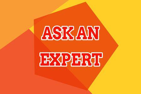 Conceptueel handschrift met Ask An Expert. Begrip, wat betekent dat je iemand moet raadplegen die ergens over vaardigheid beschikt of die kennis heeft van een geometrisch ontwerpkaart Stockfoto