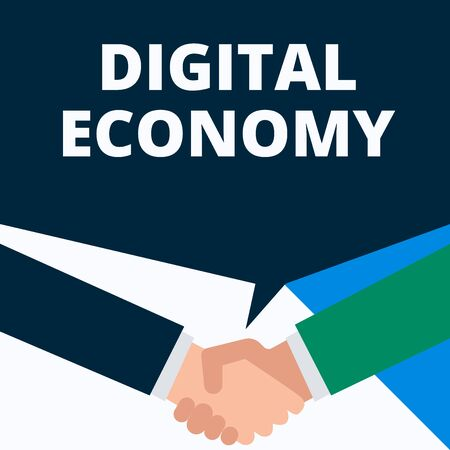 Conceptual hand writing showing Digital Economy. Concept meaning worldwide network of economic activities and technologies Two men hands shaking showing a deal sharing speech bubble Imagens