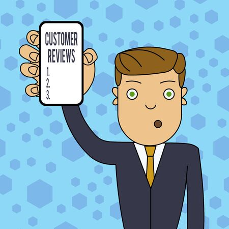 Writing note showing Customer Reviews. Business concept for review of product or service made by client who has used Man Holding Vertical Smartphone Device Screen for Attention