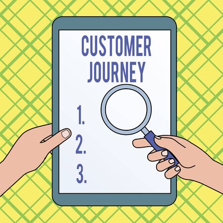 Writing note showing Customer Journey. Business concept for product of interaction between organization and customer Hands Holding Magnifying Glass Against Switched Off Touch Screen Tablet Banco de Imagens
