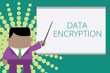 Writing note showing Data Encryption. Business concept for Symmetrickey algorithm for the encrypting electronic data Businessman standing in front projector screen pointing project idea