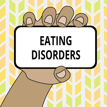 Conceptual hand writing showing Eating Disorders. Concept meaning any of a range of psychological abnormal food habits Closeup of Smartphone in Hand with Screen and Text Space