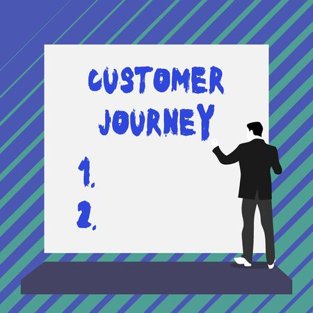 Writing note showing Customer Journey. Business concept for product of interaction between organization and customer Short hair immature young man stand in front of rectangle big board