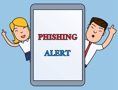 Writing note showing Phishing Alert. Business concept for aware to fraudulent attempt to obtain sensitive information Male and Female Index Fingers Up Touch Screen Tablet Smartphone Device