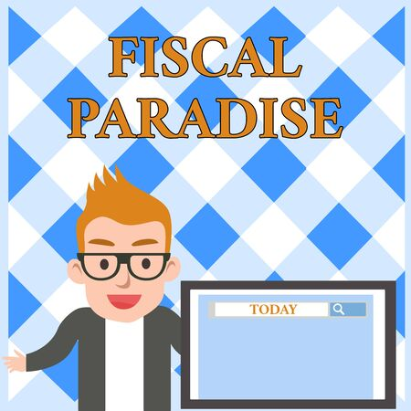 Conceptual hand writing showing Fiscal Paradise. Concept meaning The waste of public money is a great concern topic Male Speaker Screen with Search Tool on Screen Presentation