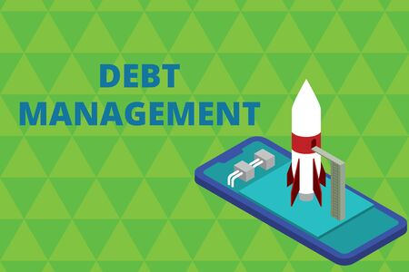 Word writing text Debt Management. Business photo showcasing The formal agreement between a debtor and a creditor Ready to launch rocket lying smartphone. Startup negotiations to begin
