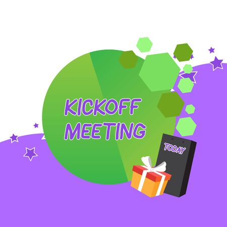 Handwriting text Kickoff Meeting. Conceptual photo Special discussion on the legalities involved in the project Greeting Card Poster Gift Package Presentation Box Decorated by Bowknot