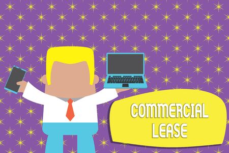 Conceptual hand writing showing Commercial Lease. Concept meaning refers to buildings or land intended to generate a profit Professional man holding laptop in left mobile phone right