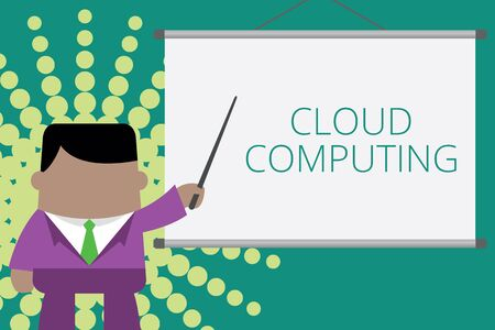 Writing note showing Cloud Computing. Business concept for use a network of remote servers hosted on the Internet Businessman standing in front projector screen pointing project idea