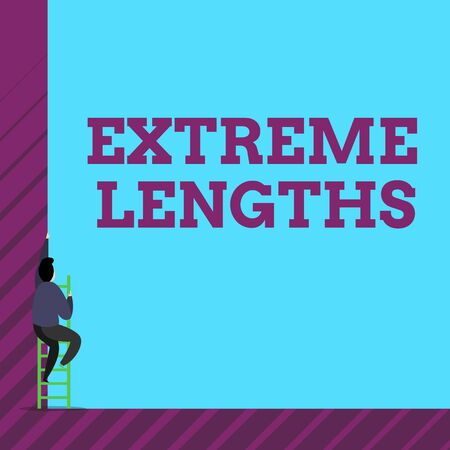 Text sign showing Extreme Lengths. Business photo text Make a great or extreme effort to do something better One male human person climb up the tall high wall use short ladder stairway 스톡 콘텐츠