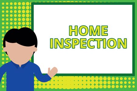 Word writing text Home Inspection. Business photo showcasing Examination of the condition of a home related property Young man standing in front whiteboard pointing to project. photo Art