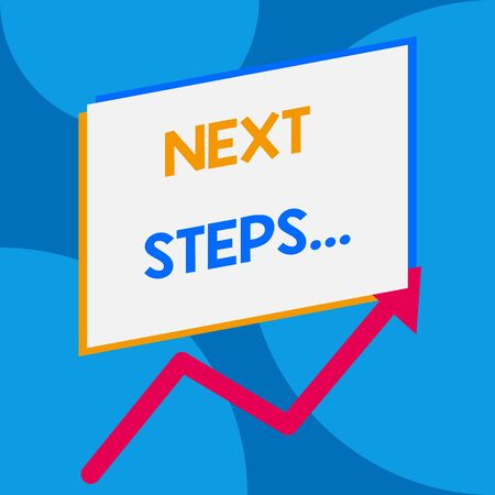 Word writing text Next Steps. Business photo showcasing something you do or plan after you ve finished something else One blank rectangle above another arrow zigzag upwards increasing sale Stok Fotoğraf
