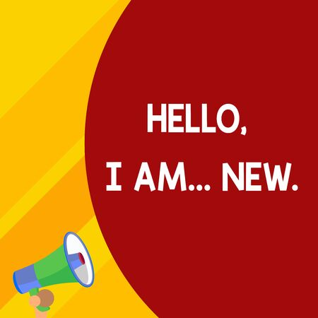 Word writing text Hello I Am New. Business photo showcasing introducing oneself in a group as fresh worker or student Half part blank huge balloon empty text with small megaphone. Announcement