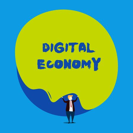 Conceptual hand writing showing Digital Economy. Concept meaning worldwide network of economic activities and technologies Male human wear formal tuxedo hold asymmetrical shape bubble Imagens