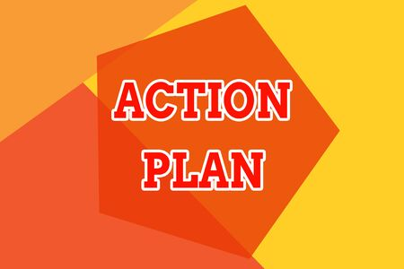 Conceptual hand writing showing Action Plan. Concept meaning proposed strategy or course of actions for certain time Geometric design card Applicable for covers posters banner