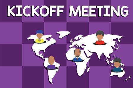 Text sign showing Kickoff Meeting. Business photo text Special discussion on the legalities involved in the project Connection multiethnic persons all over world. Global business earth map Stockfoto