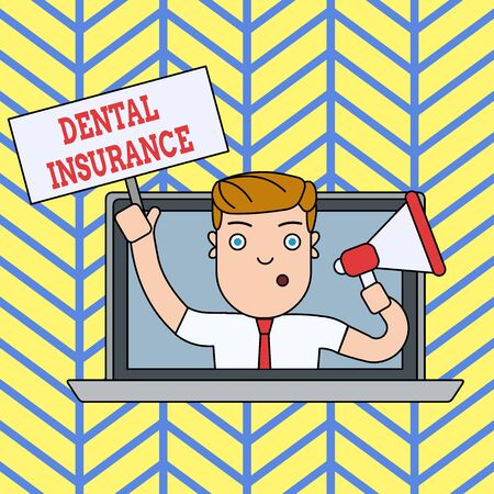 Handwriting text writing Dental Insurance. Conceptual photo form of health designed to pay portion or full of costs Man Speaking Through Laptop Screen into Megaphone Blank Plate with Handle Foto de archivo