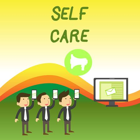 Conceptual hand writing showing Self Care. Concept meaning the practice of taking action to improve one s is own health SMS Email Marketing Media Audience Attraction PC Loudspeaker