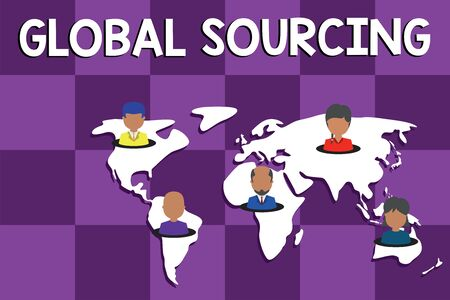 Text sign showing Global Sourcing. Business photo text practice of sourcing from the global market for goods Connection multiethnic persons all over world. Global business earth map