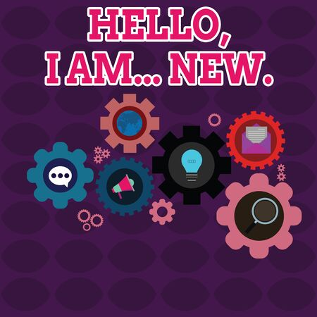Text sign showing Hello I Am New. Business photo showcasing introducing oneself in a group as fresh worker or student Set of Global Online Social Networking Icons Inside Colorful Cog Wheel Gear