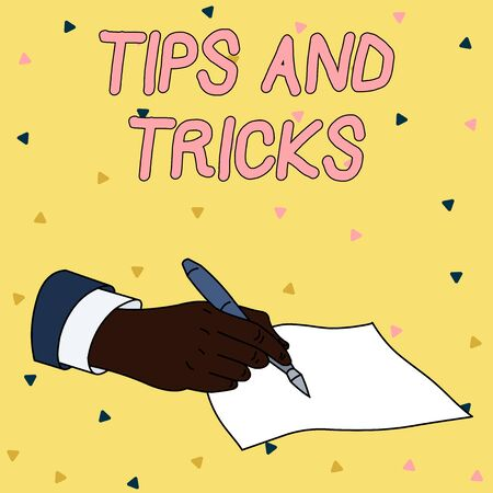 Handwriting text writing Tips And Tricks. Conceptual photo piece of inside facts specially in betting or investing Male Hand Formal Suit Holding Ballpoint Pen Blank Piece of Paper Writing 版權商用圖片
