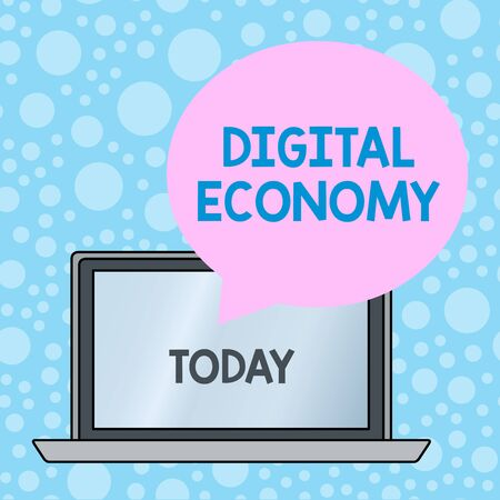 Writing note showing Digital Economy. Business concept for worldwide network of economic activities and technologies Round Shape Speech Bubble Floating Over Laptop Backdrop