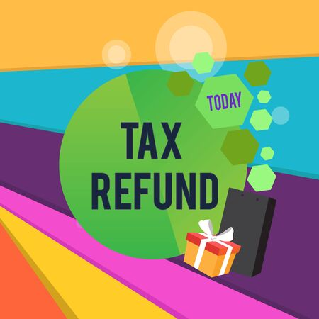 Word writing text Tax Refund. Business photo showcasing refund on tax when the tax liability is less than the tax paid Greeting Card Poster Gift Package Presentation Box Decorated by Bowknot