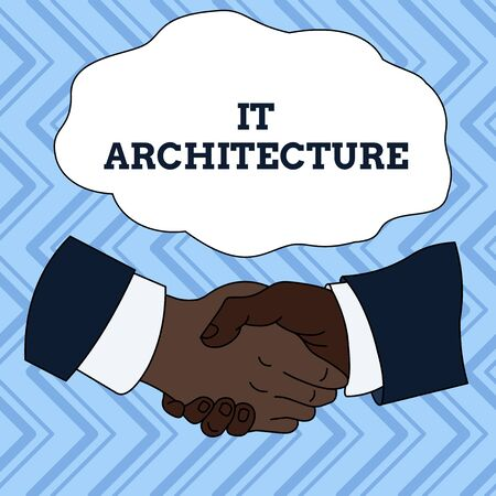 Text sign showing It Architecture. Business photo showcasing Architecture is applied to the process of overall structure Hand Shake Multiracial Male Business Partners Colleagues Formal Shirt Suit
