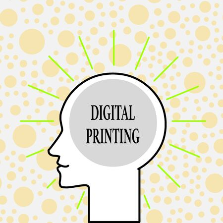 Writing note showing Digital Printing. Business concept for digital based images directly to variety of media Outline Silhouette Human Head Surrounded by Light Rays Blank Text Space Standard-Bild