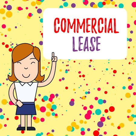 Handwriting text writing Commercial Lease. Conceptual photo refers to buildings or land intended to generate a profit Woman Standing with Raised Left Index Finger Pointing at Blank Text Box Stock fotó