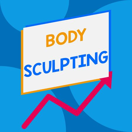 Word writing text Body Sculpting. Business photo showcasing activity of increasing the body s is visible muscle tone One blank rectangle above another arrow zigzag upwards increasing sale